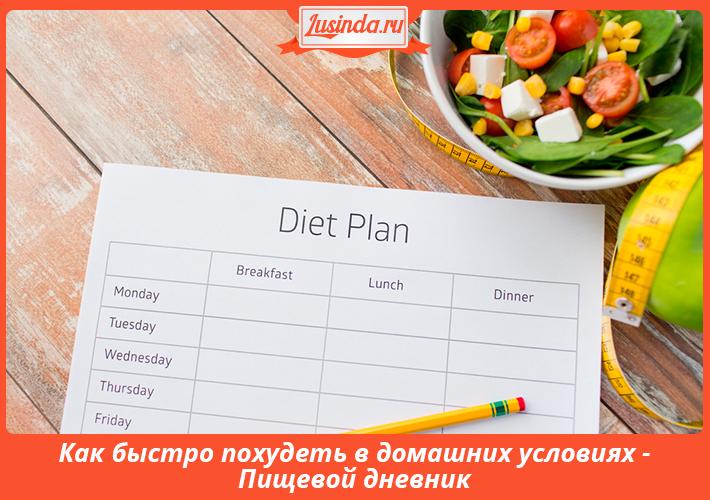 Как быстро похудеть в домашних условиях - Пищевой дневник